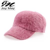 Wholesale Casual Winter Ball Caps - Women fashion winter hat candy solid color rabbit fur baseball cap Women's Autumn and Winter cap W001