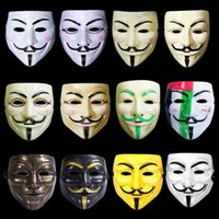 Wholesale Adult Cosplay Models - Halloween Cosplay Mask V mask Vendetta white yellow Anonymous Guy Fawkes Fancy Adult Costume Party Masks Masquerade Eye Mask Christmas New