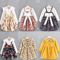 Wholesale Little Girls Ribbon Dresses Wholesale - 12 color INS Korean styles new arrival kids spring autumn little flower plaid printed Fake two pieces Cotton Dress girl casual dress