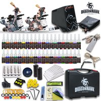 Wholesale Disposable Tattoo Supplies - Complete Tattoo Kits 2 Guns Machines 40 Colors Inks Sets 20 Pieces Disposable Needles LCD ELFIN Power Supply HW-8GD-9 USA Dispatch Beginner