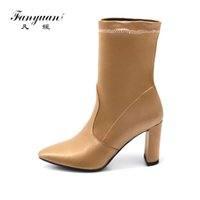 Fanyuan Brand Designer Velvet Boot Women Stretch Tecido Curto Feminino Boot Thick High Heels Pointed toe Sexy Boots Woman Shoes