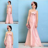 Wholesale Sheath Ivory Flower Girl Dresses - Pink One Shoulder Mermaid Flower Girl Dresses For Wedding 2017 Sheath Satin Girls Pageant Gowns Zipper Back Children Prom Party Dresses