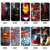 Wholesale Dark Knight Case - Marvel Avengers Superman Hard Case Cover for iPhone 5 5s 6 6s 7 8 Plus Batman Dark Knight Spider Ironman Captain America Shield