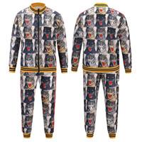Wholesale Windbreaker Jacket Pants - 2017 Italy Luxury Brand 3D print jackets + pants Men's Casual tracksuits windbreaker jackets Tiger printing pant M - 2XL