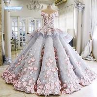 vestidos de noiva de tamanho real mais venda por atacado-2016 imagem Real colorido rendas vestido de baile Plus Size rosa flores princesa capela cinza vestidos de casamento vestidos de noiva
