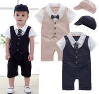 Wholesale British Style Jumpsuit - Retail 2017 Newest Baby Rompers baby boy infant summer one piece British style gentleman romper short sleeve Suspenders trousers jumpsuit