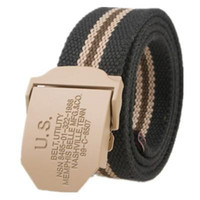 Wholesale Wholesalers For Mens Jeans - Hot Belts 110CM 130CM Military Canvas Belt For Mens And Woman US Buckle Belts Luxury Outdoor Sports Ceinture Jeans Casual Cintos H210841