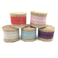 Burlap Ribbon 2M Vintage Wedding Centerpieces Рождественский букет diy Украшение Кружева Trim Roll Jute Rustic Event Party Торт в пользу