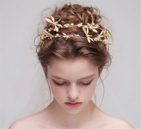 Vintage Wedding Headpieces Bridal Gold Crystal Rhinestone Crown Tiara Cabelo Acessórios Barroco Dragonfly Hair Band Jóias Atacado Cheap