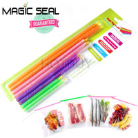 Wholesale Rod Bags - 100X Set of 8 Magic Bag Sealer Stick Unique Sealing Rods Great Helper For Food Storage Sealing Cllip Sealing Clamp Clip #4038