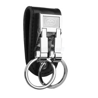 Wholesale Double Ring Belt Leather - Wholesale- Security Leather Belt Buckle Clip Keychain Key Chain Double Ring Key Holder Party Supplies