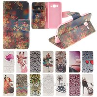 Wholesale Flip Paint - Fashion Colorful Painting Flip Leather Wallet Cover Case For Samsung Galaxy J1 J3 J5 2016 J120 J510 Phone Cover With Card Holder BQ4D33
