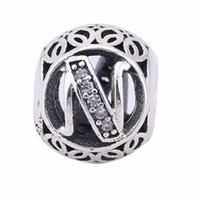 Wholesale n 925 - Popular Real 925 Sterling Silver Letter N Beads Charms Fit European Bracelets Snake Chain 2016 Europe Fashion Silver Beads DIY Jewelry BF47