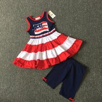 Wholesale rare editions - Fedex UPS Free Girl Rare editions Cotton 2pcs outfit Vest Tutu Dress & Pants Spring Summer Clothing Sets for 4-8T 8Sets lot