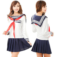 Wholesale School Sailor Outfits - Wholesale-2016 Sailor Suit Role-playing School Girl Outfit Uniform Temptation Japanese and Korean Style -40