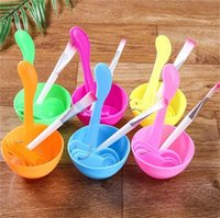 Wholesale mix bowls resale online - Women Cosmetic Makeup Tool In Bowl Mixing Brush Spoon DIY Facial Set Hot Sale xg C R