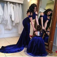 Wholesale Blue Velvet Dress Christmas - 2016 Cute Flower Girl Dress Matching Mother Bride Dress Royal Blue Evening Formal Party Gowns Custom Made