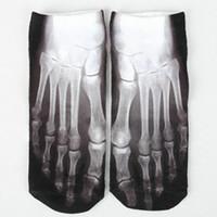 skelettsocken großhandel-Wholesale-3D Printed Socken Unisex Nette Low Cut Söckchen Tier Skelett Füße Baumwolle Socke Casual Charactor Socken für Frauen Männer