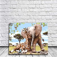 Wholesale Elephant Frame - Giraffes and Elephant Diy Oil Painting By Numbers Kits Wall Art Painting Home Decor Acrylic Painting On Canvas For Work Of Art 40x50cm