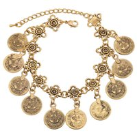 Wholesale Gold Coin Ring Settings - 2017 New Retro Coin Tassel Bracelet Anklet