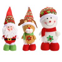 Wholesale Christmas Decoration Santa Claus Dolls - Xmas Christmas Santa Claus Snowman Reindeer Doll Ornament Gift Lovely Cartoon Home Christmas Decoration Supplies