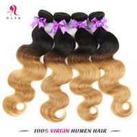 Wholesale Wholesale Pre Bonded Hair - Peruvian Braiding Hair Bundles 7A 4 Bundles Ombre Remy Body Weave Blond Hair Bundles Blond Peruvian Hair HLSK Human Hair Bundles
