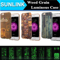 Wholesale Wholesale Beans Grains - 3D Relief Luminous Retro Style Wood Grain Case Coffee Bean Flower Words Paint Funda Cover For iPhone 5 5s SE 6 6S Plus Capa Hard PC Material