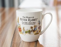 Wholesale Peters Rabbit - 350 ml Lovely White Peter Rabbit Coffee Mug Ceramic Cup Milk Breakfast Cup Children Birthday Drinkware Supplies Gift RY1521
