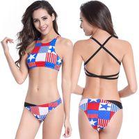 Wholesale Sexy Padded Beach Bikini - New Fashion Sexy Swimwear American Flag Printing Backless Women Triangle Bikini Set Push Up Padded Bra Swimsuit Beach Wear With Halter
