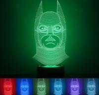 батман светодиодные фары оптовых-Новый 3D Batman LED Night Light лампы сенсорный свет лампы 7 красочные изменение USB зарядное устройство Главная VoveltyChristmas подарок детский мультфильм игрушка мин Order1PCS