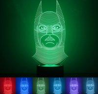 nachtlicht 3d cartoon großhandel-Neue 3D Batman LED Nachtlicht Lampe Touch Lampe Licht 7 Bunte Änderung USB Ladegerät Startseite VoveltyChristmas Geschenk Kinder Cartoon Spielzeug Min Order1PCS