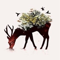 Wholesale Modern home decorative painting wall art style wall art poster canvas canvas printed the flowers on the back of the deer