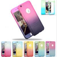color de la cubierta de la pantalla del iphone al por mayor-Para el caso del iphone 7 gradiente del color del arco iris 360 casos de protección total Protector de pantalla de vidrio templado para iphone 5 5s se 6 6s 7 más caliente
