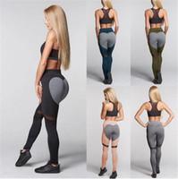 Wholesale Heart Design Leggings - 20pcs 5 designs black and grey pant heart Fitness leggings gym Print Yoga Pants stripe sports Leggings Fitness Stretch Trousers M101