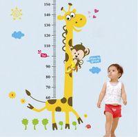 Wholesale Giraffe Measure Cartoon - Animal cartoon giraffe monkey children height measuring vinyl wall stickers for kids rooms home decor living sofa wall decals