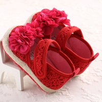 Wholesale Mary Jane Shoes For Girls - Wholesale- 2016 Spring Red Mary Jane Flower Infants Crochet Knitted Baby Moccasins Girls Scarpe Neonata Baby Shoes For Birthday Soft Soled