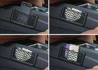 Wholesale visor organizer for car resale online - Car Net Bag Car Organizer Nets X8cm Automotive Pockets With Adhesive Visor Car Syling Bag Storage for tools Mobile phone