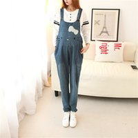 Wholesale Demin Jeans For Women - Wholesale- Hello Kitty Demin Rompers Womens Jumpsuit Plus Size Loose Overalls For Women Jumpsuits Rompers Women Jeans Pregnancy Overalls
