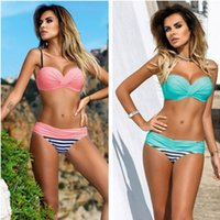Wholesale Sexy Tankinis Women - Sexy Bikini Swimsuits Tankinis Swimsuit 2016 Summer Bikini Candy Color Swimsuit Swimwear Bathing Suit Woman Swimming Suits For Women 107