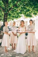 Wholesale Tea Length Empire Bridesmaid Dresses - Modest Short 2017 A-Line Bridesmaid Dresses Jewel 1 2 sleeve zipper Sequined Empire Stain Tea Length Custom Made dresses For Wedding
