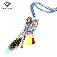 Wholesale long feather necklace - Fashion Long Chain Multicolor Owl Pendant Necklaces With Feather Crystal Bead Tassels Women New Accessories Charm Jewelry CE4028