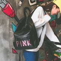 Wholesale Chic Travel Bags - Chic Pink Sequins Backpack Pink Letter PU Backpacks 2 Colors Waterproof Travel Bags Teenager School Bags