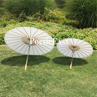 Wholesale Painted Umbrellas - White paper parasols DIY painting umbrellas Bridal wedding parasol Diameter 23.6 inches and 33 inches Long handle Drop shipping