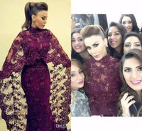 Wholesale cheap black abayas - Evening Dresses 2016 Sexy Arabic High Neck Burgundy Grape Lace Appliques Crystal Beaded Cape Formal Dubai Abaya Cheap Party Dress Prom Gowns