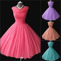 Wholesale Light Pink Women S Dresses - Vintage 1950's Bridesmaid Dresses Cheap Real Image Short Prom Party Gowns Tea Length Short Women Cocktail Formal Homecoming Gowns vestidos