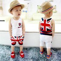 Wholesale Baby Cotton Singlets - Fashion Summer Baby Boys Clothes Sets Kids Sport Suits Flag Sleeveless T-Shirts Baby Clothing Vest Harem Pants Shorts Singlet