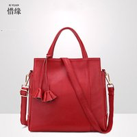 Wholesale Genuine Red Leather Handbags - Famous Brand Designer Luxury Genuine Leather Bags Fashion American OL Leather Women Shoulder Bags Tassel Handbags red grey blue