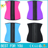 Wholesale Black Corset Steel Boning - 9 steel bone Latex Rubber body shaper Waist Trainer training corsets Corset Latex Corset Sexy Women Latex Waist Cincher Slimming Shapewear