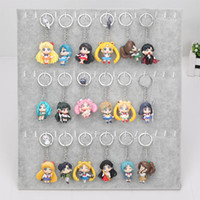 Wholesale Wholesale Mini Anime - 6pcs set Anime Sailor Moon Keychain keyring mini figure Action figures toy with pendant toys approx 5cm with keyring
