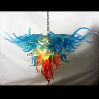 moderne kunst glas kronleuchter großhandel-Kostenloser Versand Bunte Art Deco Blume Italien Designer Phantasie Mundgeblasene Murano Glas Kronleuchter Moderne Festival LED Pendelleuchten
